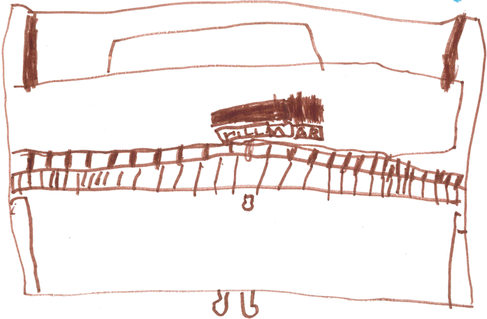 Child's drawing of a piano